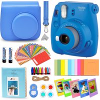 Fujifilm Instax Mini 9 Instant Fuji Camera COBALT BLUE (NEW 2017 Release) + Accessories Bundle + Custom Matching Case + Photo Album + Assorted Frames + 4 Color Filters + 60 Sticker Frames + MORE