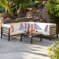 Best Choice Products 4-Piece Acacia Wood Outdoor Patio Sectional Sofa Set w/ Water Resistant Cushions, Table - Espresso