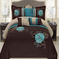 Shamz King Size 7-Piece Comforter Set  Brown & Turquoise Bed in a Bag Embroidery Soft Bedding