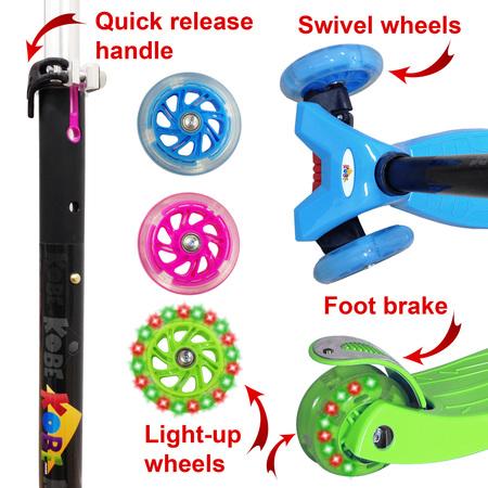 KOBE Junior Pro Mini Scooter - with 4 Swivel LED Light Up Wheels - Kids 2 to 6-yo - Pink - image 4 de 9