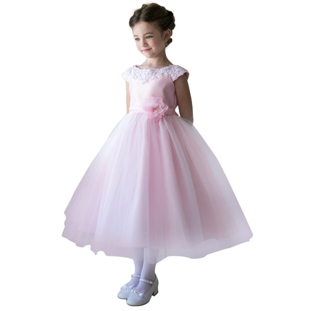 Efavormart Lustrous Satin and Tulle Dress with Crochet Trim and Flower Birthday Girl Dress Junior Flower Girl Wedding Party Dress - Frocks For Flower Girls