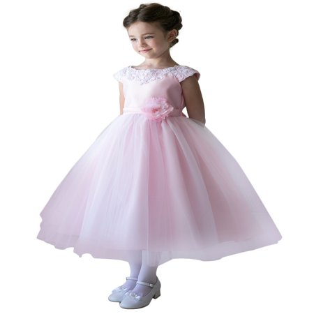 Efavormart Lustrous Satin and Tulle Dress with Crochet Trim and Flower Birthday Girl Dress Junior Flower Girl Wedding Party Dress](Flower Girl Dresses With Tulle)