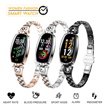 Women Fashion Waterproof bluetooth Smart Watches Bracelet Watch Lady Smartwrist Gifts for (Flower Fashion Watch)