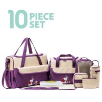 SOHO Collections, 10 Pieces Diaper Bag SetLimited time offer (Lavender with Elephant)