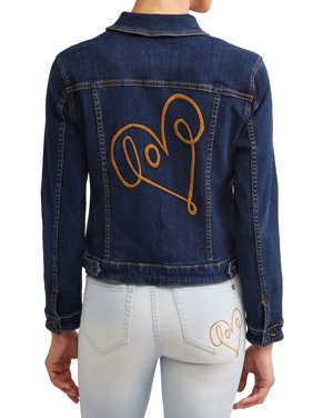 Love Scribble Denim Jacket Women's (Dark Wash)