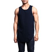 d680a9c732b04 G-Style USA Solid Color Long Length Curved Hem Tank Top TT47 - NAVY -
