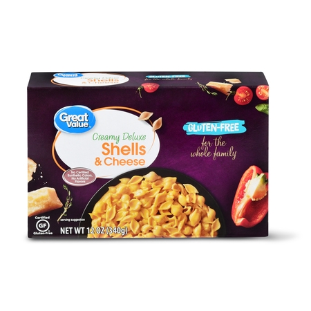 (4 Pack) Great Value Gluten-Free Creamy Deluxe Shells & Cheese, 12 oz