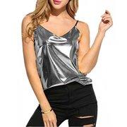 c5d8039c123 Fashion Women Sexy Summer V-neck Vest Tops Sleeveless Spaghetti Strap Bling  bling Gold Silver