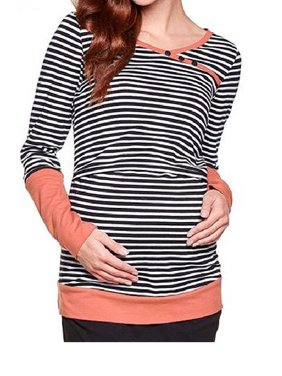 Women Double Layer Striped Print Long Sleeve Maternity Breastfeeding and Nursing Tops