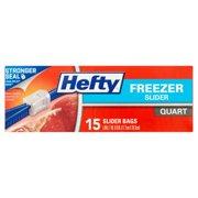 (4 Pack) Hefty Slider Zipper Freezer Storage Bags, Quart, 15 Ct
