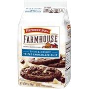 (2 Pack) Pepperidge Farm Farmhouse Thin & Crispy Triple Chocolate Chip Cookies, 6.9 oz. Bag