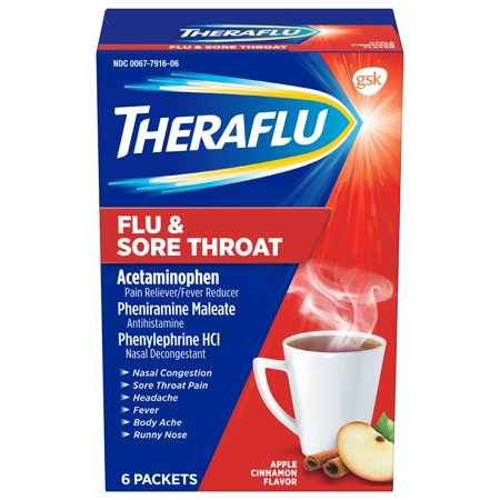 Theraflu Flu & Sore Throat Powder, Apple Cinnamon Flavor, 6