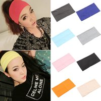 Girl12Queen Women Candy Color Wide Yoga Headband Stretch Hairband Elastic Hair Bands Turban
