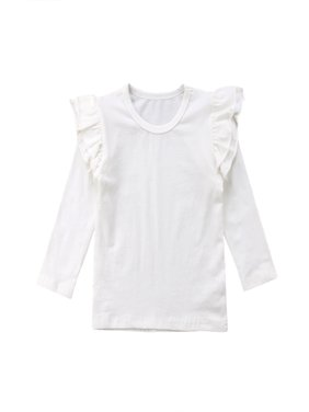 Little Baby Girl Cotton Ruffle Long Sleeve T-Shirt Blouse Spring Autumn Tops Tee (3-4Y, White)