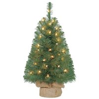 Holiday Time 2ft Pre-Lit Noble Fir Green Artificial Christmas Tree with 35 Clear Lights - Green