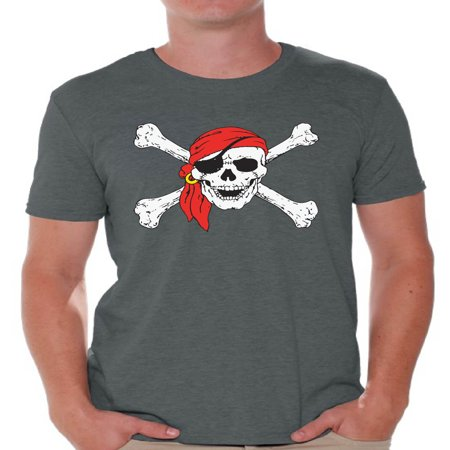 Awkward Styles Sugar Skull Shirts for Men Jolly Roger Skull and Crossbones Men's Tee Shirt Tops Day of Dead Tshirts Pirate Flag Shirts Skull T-shirts Dia de Los Muertos T - Skull Crossbones