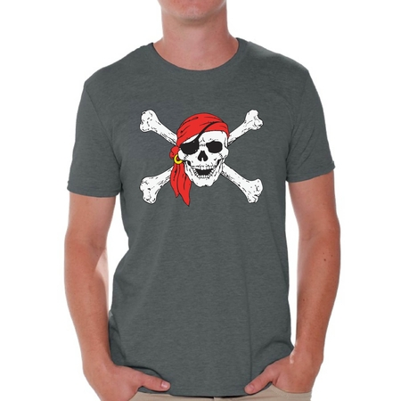Awkward Styles Sugar Skull Shirts for Men Jolly Roger Skull and Crossbones Men's Tee Shirt Tops Day of Dead Tshirts Pirate Flag Shirts Skull T-shirts Dia de Los Muertos T Shirts for Men - Mens Pirate Shirts