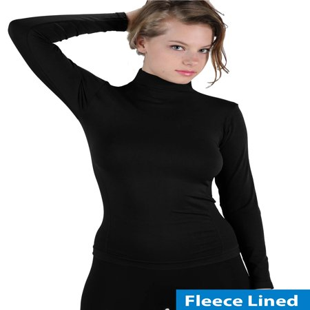 Women Fleece Lined Mock neck Turtleneck Long Sleeve Top Slim Fit Stretch Tight Shirt (Cotton Long Sleeve Mock Turtleneck)