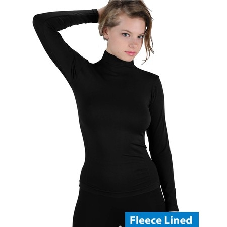 Women Fleece Lined Mock neck Turtleneck Long Sleeve Top Slim Fit Stretch Tight -