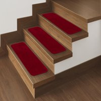 """Ottomanson Comfort Collection Soft Solid Non-Slip Plush Carpet Stair Treads, 5 Pack, 9"""" x 26'"""