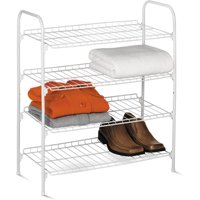 Honey Can Do 4-Tier Wire Shoe and Accessory Shelf/Closet Shelf, White
