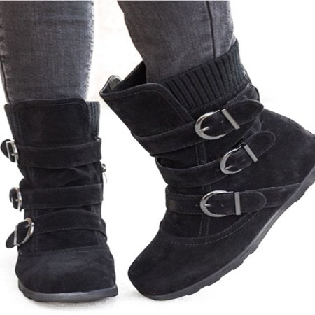 Womens Winter Warm Matte Booties Shoes Buckle Flat Short Ankle Snow Boots (Bare Traps Ankle Boots Women)