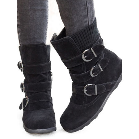 Womens Winter Warm Matte Booties Shoes Buckle Flat Short Ankle Snow Boots Black Suede Buckled Ankle Bootie