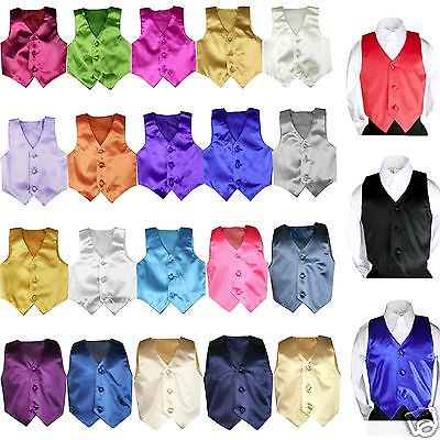 23 color Satin Vest only Boys Teens Men Formal Party Graduation Tuxedo Suit