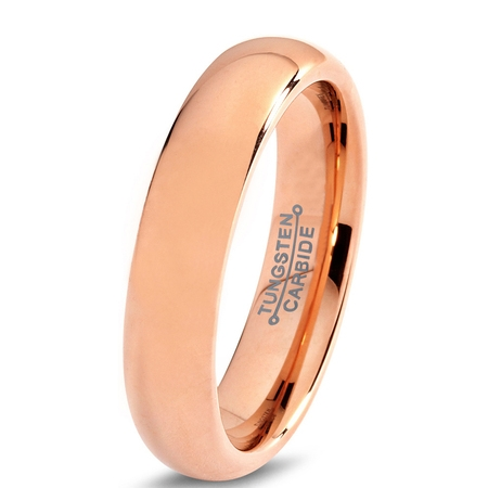 Tungsten Wedding Band Ring 5mm for Men Women Comfort Fit 18K Rose Gold Plated Plated Domed Polished Lifetime