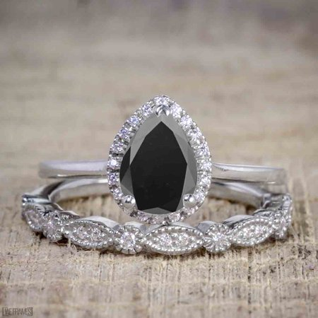 Antique Vintage 1.25 Carat Pear cut Artdeco Halo Engagement Ring with Black Diamond for Her in White Gold