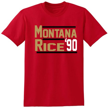 RED Joe Montana Jerry Rice 49ers 1990 T-Shirt