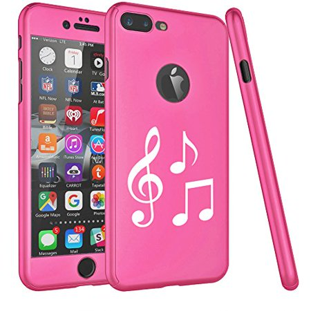 For Apple iPhone 360° Full Body Thin Slim Hard Case Cover + Tempered Glass Screen Protector Music Notes (Hot Pink For iPhone 8 Plus) - Music Note Hat