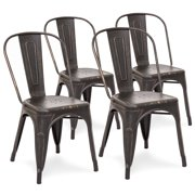 3009f2f7390b Best Choice Products Set of 4 Distressed Industrial Metal Dining Side Chairs  (Bronzed Black)