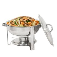 Zeny Round Chafing Dish Chafer with Lid 5-QT, 5 quart Stainless Steel