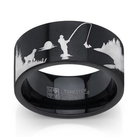 Men's Ring Wright Co. Black Tungsten Trout Lake Fly Fishing Enthusiasts Ring, Outdoor Scenery Band 8mm