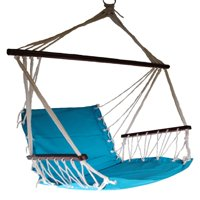 OMNI Patio Swing Seat Hanging Hammock Cotton Rope Chair With Cushion Seat - Blue