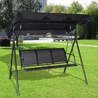 Costway Outdoor Patio Swing Canopy 3 Person Canopy Swing Chair Patio Hammock Black