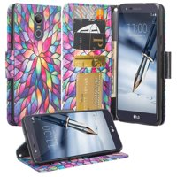 LG Stylo 4 Case/Stylo 4 Plus Case, PU Wallet Leather ID Cash Credit Card Slots Holder Carrying Folio Flip Cover & Kickstand - Rainbow