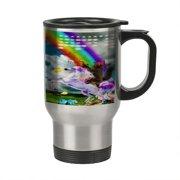 8c1d22c4b31 KuzmarK Insulated Stainless Steel Travel Mug 14 oz. - Kitty Cat Gold Gun  Rainbow Unicorn