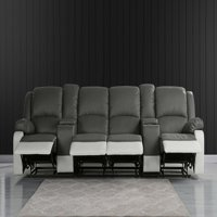 4 Seat Home Theater Recliner Sofa with Cup Holders, Gray/White