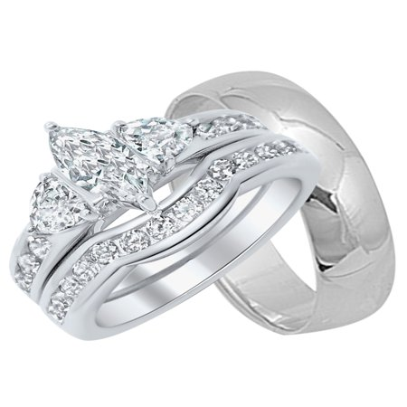 His and Her Wedding Rings Set Sterling Silver Wedding Bands for Him and Her (His And Hers Wedding Ring Sets Sterling Silver)