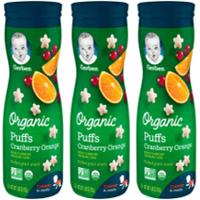 (3 Pack) Gerber Organic Puffs, Cranberry Orange, 1.48 oz.