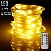 TORCHSTAR 33ft 100 LEDs Outdoor LED String Lights, Warm White