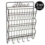 Simplify 3-Tier Metal Mail and Key Hook Wall Organizer, Black, 10.4x2.4x14.75 Inches