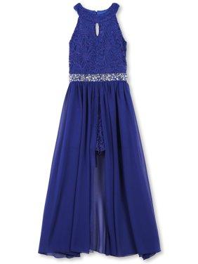 Lots of Love by Speechless Plus Jewel Waist Walk-Thru Long Occasion Dress (Big Girls)