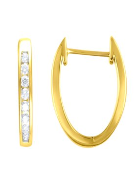 1/4 cttw Diamond Hoop Earrings, 14kt Yellow Gold