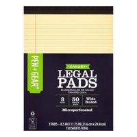 "Pen + Gear 50-Sheet Recycled Canary Legal Pad (8.5 x 11.75"", 3-Pack)"