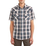 76e6edfb Plains Men's Short Sleeve Plaid Western Shirt, up to Size 6XL
