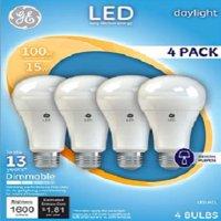 GE LED 17W Daylight General Purpose, A21 Medium Base, Dimmable, 4pk Light Bulbs