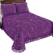 100% Cotton Elegant Parkside Plush Scroll Chenille Bedspread Bedding with Fringe Trim, Queen, Violet